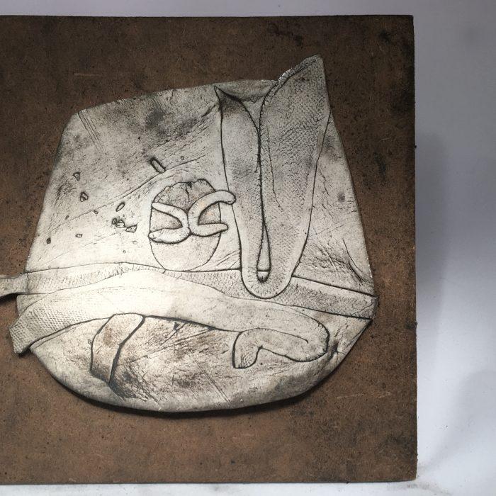Untitled #1076 unglazed porcelain plaque