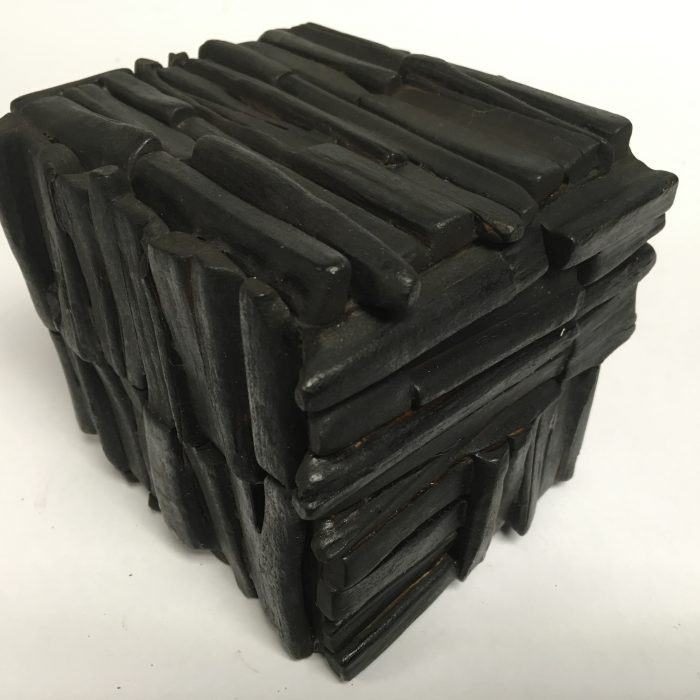 Untitled #1156 burnt wood cube