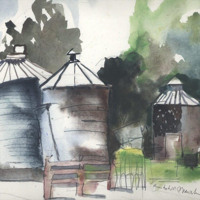 Untitled #1259 Watercolor Grain Bins (sold)