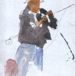Untitled #1267 Watercolor and Ink Fisherman
